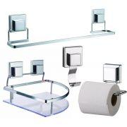 Kit Para Banheiro Especial Fixação Ventosa 4 Peças Luxo
