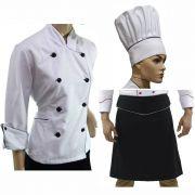Kit Para Chef de Cozinha Dólmã Feminino Avental e Chapéu