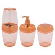 Kit Porta Escova Algodão Sabonete Líquido Cobre Rosé Gold Translúcido