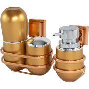 Kit Porta Escova Sabonete Algodão com Suporte Fixação Ventosa Rosé Gold