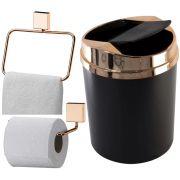 Kit Rosé Gold Banheiro Porta Papel Higiênico Lixeira e Toalheiro