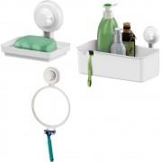 Kit Saboneteira, Porta Shampoo + Espelho Antiembaçante