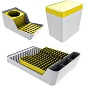 Kit sobre pia lixeira + organizador detergente + escorredor