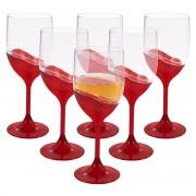 Jogo de Taças para Vinho 400ml em Acrílico Translúcido 6 Peças