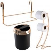Kit Toalheiro Box Papeleira Dupla Chão e Lixeira Basculante Rosé Gold
