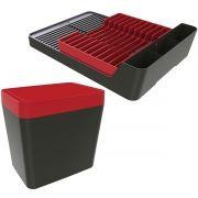Lixeira de Pia 5 Litros Escorredor Para 11 Pratos - Chumbo/Vermelho