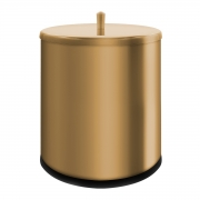 Lixeira Dourada 6,3 Litros em Aço Inox Tampa de Pegar