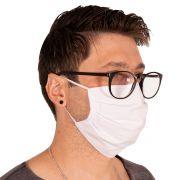 Máscara de Proteção Branca Tecido Dupla 100% Algodão Lavável