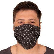 Máscara de Proteção Dupla Tecido Poá Preto 100% Algodão