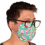 Máscara de Proteção Dupla Estampa Picolés 100% Algodão Lavável