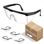 Óculos de Proteção Incolor Para Mecânicos Eletricistas 50 Peças