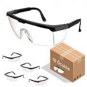 Óculos de Proteção Incolor Segurança com Ajuste 10 Peças