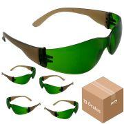 Óculos de Proteção Trabalhador Epi Segurança Verde 10 Peças