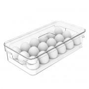 Bandeja Porta Ovos com Tampa Geladeira 18 Cavidades Acrílico