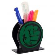 Porta Canetas de Mesa Super Heróis Marvel Soco do Hulk em MDF Presente Geek