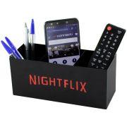 Porta Controle Remoto Com Divisórias NightFlix Preto