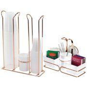 Porta Copos Descartáveis Com Porta Sachês Branco - Rosé Gold
