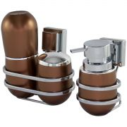 Conjunto Banheiro 3 Peças Porta Escovas Sabonete Algodão Fixação Ventosa