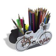 Porta Lápis Caneta Organizador de Mesa Bicicleta Amor