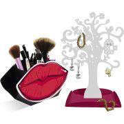 Porta Pincéis de Maquiagem Boca Árvore Organizadora de Joias