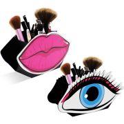 Porta Pincéis de Maquiagem Conjunto Display Boca Rosa Olho Azul