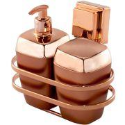 Porta Sabonete e Algodão Rosé Gold Suporte Fixação Ventosa