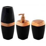 Porta Sabonete Líquido Escova Algodão Rosé Gold  Luxo Banheiro Toalete