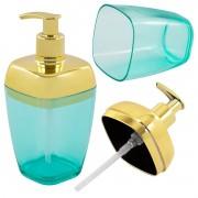 Porta Sabonete Líquido Translúcido 300ml Dourado Banheiro Luxo