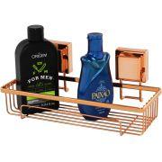 Porta Shampoo Multiuso Aço Piatina Cobre Rose Gold Fixação Ventosa