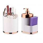 Porta Talheres e Dispenser Porta Detergente Esponja Branco Rosé Gold