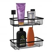 Prateleira Para Shampoo Dupla Fixação Por Parafusos Preta - Wp Connect