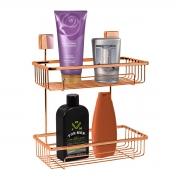 Prateleira Para Shampoo Dupla Fixação Por Parafusos Rosé Gold - Wp Connect