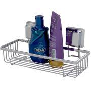 Prateleira Porta Shampoo Aço Piatina Cromada Fixação Ventosa