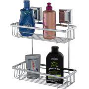 Prateleira Para Shampoo Aço Piatina Dupla Fixação por Ventosa
