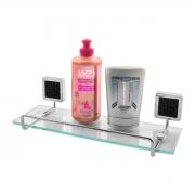 Prateleira Porta Shampoo Cromado Base em Vidro - Wp Connect