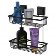 Prateleira Porta Shampoo Dupla de Parede Fixação de Ventosa Preto Fosco