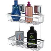 Prateleira Porta Shampoo Aço Piatina Duplo Fixação por Ventosa