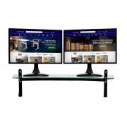 Suporte Para Dois Monitores 3 Níveis Ajustável Vidro Incolor 80cm