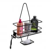 Suporte Porta Shampoo e Sabonete Encaixe de Registro Preto - Future