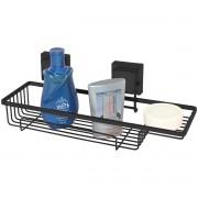 Suporte Porta Shampoo e Sabonete Fixação por Ventosa Preto Fosco