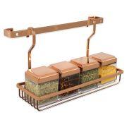Suporte Porta Temperos Rosé Gold Barra 30cm Com 6 Ganchos Cozinha