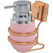 Suporte Sabonete Líquido Cobre Rosé Gold com Ventosa