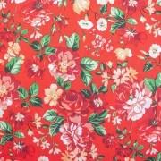 Tecido Tricoline para Patchwork Floral Fundo Vermelho Corte 1m x 1,50m