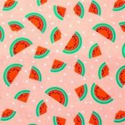 Tecido Tricoline para Patchwork Melancia Rosa Claro Corte 1m x 1,50m
