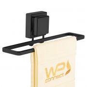 Toalheiro 25cm Fixação por Ventosa Preto Fosco Banheiro Luxo