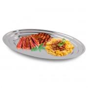 Travessa Oval 36x25cm Inox Servir Porções Cozinha Restaurante