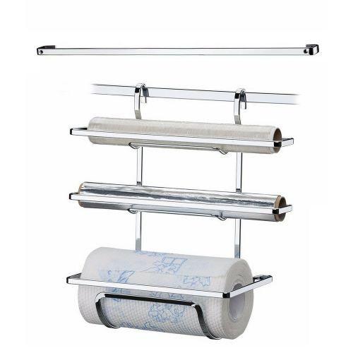 Porta Papel Toalha Alumínio E Filme + Barra De Cozinha 45cm