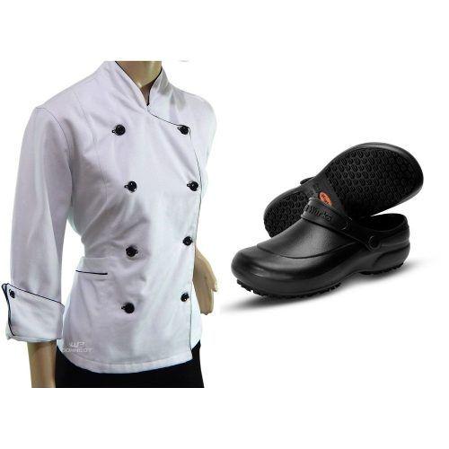 Dolmã Chef Feminina Branca + Sapato Antiderrapante Preto
