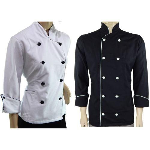 Dólmã Chef Feminina Branco + Dólmã Preto 100% Algodão