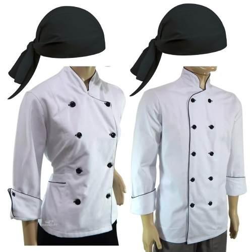 Dolmã Chef Feminina + Dolmã Masculino + 2 Bandanas Pretas